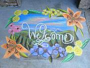 Chalk Drawing Metal Prints - NCOHC Spring Welcome at the Center Metal Print by Scarlett Royal