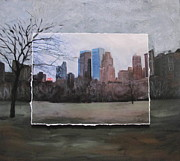 Buildings Mixed Media Originals - NCY Central Park layered by Anita Burgermeister