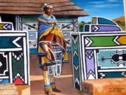 Tribal Art Paintings - Ndebele Color by Tim Johnson