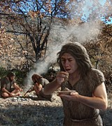 Palaeolithic Framed Prints - Neanderthals Cooking Vegetables, Artwork Framed Print by Mauricio Anton