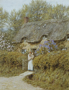 Thatched Cottage Prints - Near Freshwater Isle of Wight Print by Helen Allingham
