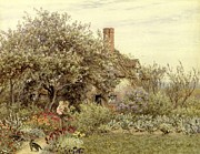 Mother And Daughter Prints - Near Hambledon Print by Helen Allingham