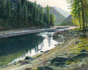 Salmon River Idaho Paintings - Near Horse Creek by Steve Spencer