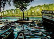 Boats Paintings - Near the Floating Restaurant by Elizabeth Robinette Tyndall