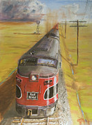 Freight Train Posters - Near Thistle  KS Poster by Christopher Jenkins