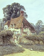 Country Cottage Framed Prints - Near Witley Surrey Framed Print by Helen Allingham