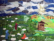 Religious Tapestries - Textiles Originals - Neath the Brightest Star by Charlene White