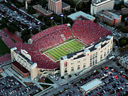 Athletic Framed Prints - Nebraska Aerial View of Memorial Stadium  Framed Print by PRANGE Aerial Photography