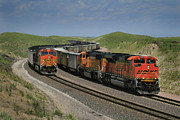Burlington Northern Prints - Nebraska Coal Trains Print by Garry McMichael