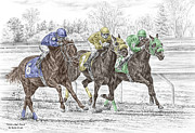 Thoroughbred Drawings - Neck and Neck - Horse Race Print color tinted by Kelli Swan
