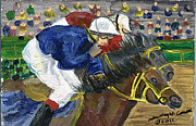 Kentucky Derby Painting Originals - Neck and Neck Down Under by Arlene  Wright-Correll