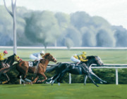 Jockey Paintings - Neck and Neck by Linda Tenukas