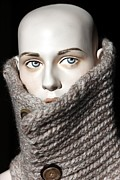 Woman Head Photograph Framed Prints - Neck Warmer Framed Print by Sophie Vigneault