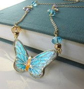 Hand Painted Pendant Jewelry - Necklace Butterfly Hand Painted by Evelina Pastilati