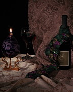Oil Lamp Prints - Necktie and Red Wine Print by Frank Schmidt