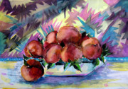 Drapery Mixed Media Posters - Nectarines Poster by Mindy Newman