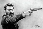 Pistol Drawings Posters - Ned Kelly drawing Poster by John Harding
