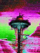 Seattle Digital Art Originals - Needle in a Raindrop Stack by Tim Allen