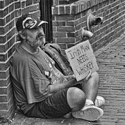Homeless Man Prints - Needs Whiskey Print by Joann Vitali