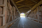 Rural Indiana Prints - Neet Covered Bridge Interior Print by Alan Look