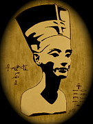 Pharaoh Painting Prints - Nefertiti Egyptian Queen Print by Georgeta  Blanaru