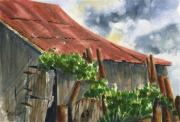 Wooden Building Painting Posters - Neighbor Dons Old Barn Poster by Marsha Elliott