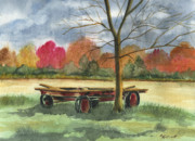 Wagon Originals - Neighbor Dons Old Wagon by Marsha Elliott