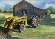 Yellow Barn Acrylic Prints - Neighbor Dons Tractor Acrylic Print by Marsha Elliott