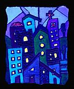 City Streets Painting Framed Prints - Neighborhood Blues Framed Print by Wayne Potrafka