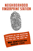 Wpa Framed Prints - Neighborhood Fingerprint Station Framed Print by War Is Hell Store