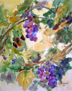 Blue Grapes Mixed Media Prints - Neighborhood Grapevine Print by Kathy Braud