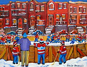 Kids In Suburbia Paintings - Neighborhood  Hockey Rink by Carole Spandau