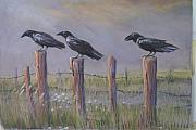 Crows Paintings - Neighborhood Watch by Heather Coen