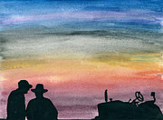 Ranchers Paintings - Neighborly talk by R Kyllo