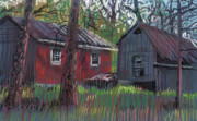 Country Pastels Posters - Neighbors Barns Poster by Donald Maier