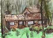 Log Cabin Art Drawings - Neighbors Cabin Montana by Windy Mountain