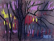 Abstract.trees Drawings Framed Prints - Neighbors Lights Framed Print by Donald Maier