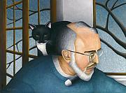 Cat Artwork Framed Prints - Neil and Cat Lucy Framed Print by Carol Wilson