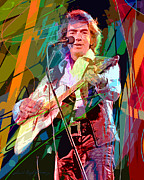 Guitar Player Paintings - Neil Diamond Hot August Night by David Lloyd Glover