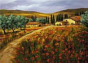 Napa Valley Vineyard Paintings - Nella Campagna Dello Toscano by Tim Howe