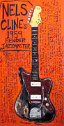 Guitars Paintings - Nels Cline Fender Jazzmaster by Karl Haglund