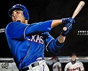 Rangers Paintings - Nelson Cruz by Tom Carlton