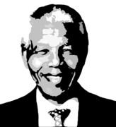 Greeting Cards Digital Art Originals - Nelson Mandela by Dave Sherwood-Adcock