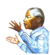 Politics Paintings - Nelson Mandela by Emmanuel Baliyanga