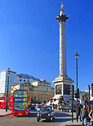 Column Mixed Media Posters - Nelsons Column and Trafalgar Square Poster by Peter Allen