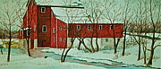 Snowy Stream Paintings - Nelsonville Mill by Carolyn Rosenberger