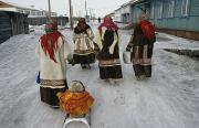 Types Of Clothing Prints - Nenets Women In Their Finest Coats Print by Maria Stenzel