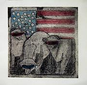 American Flag Mixed Media Originals - Neo American by Alison Schmidt Carson