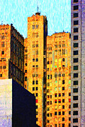 High Rise Buildings Framed Prints - Neo-Gothic Pacbell Building in San Francisco Framed Print by Wingsdomain Art and Photography