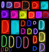 Business Greeting Cards Art - Neon alphabet series letter D by Michael Ledray